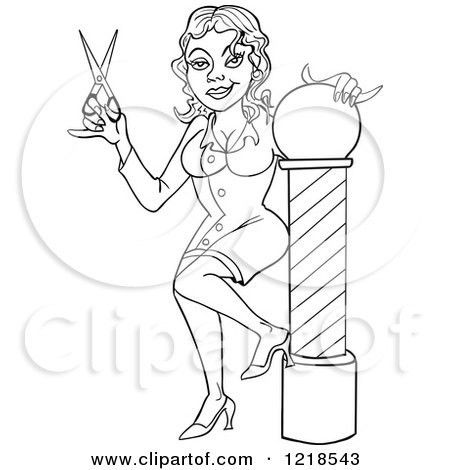 Clipart of a Female Barbers Assistant or Hairstylist Holding ...