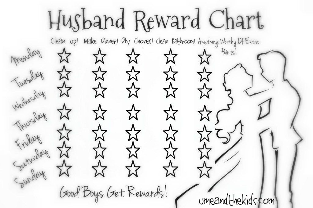 Lazy Husband/Partner Reward Chart! - U me and the kids