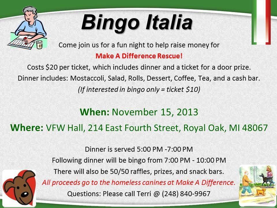 Make A Difference Rescue | Bingo Italia Fundraiser