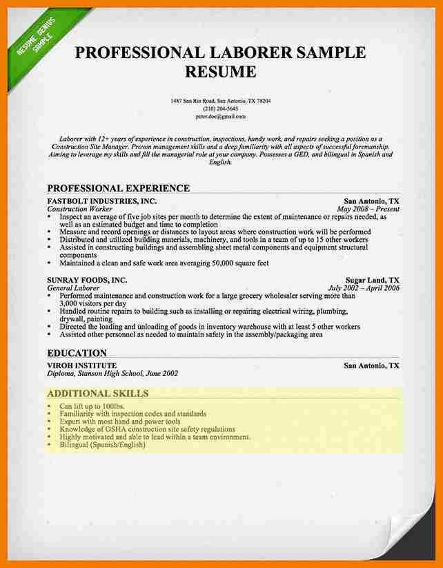 Laborer Resume Skills Examples - Ecordura.com