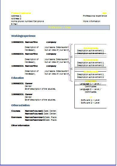 Chronological CV: Templates | Resume templates