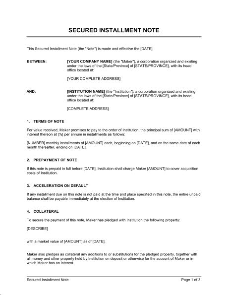 Secured Installment Note - Template & Sample Form | Biztree.com