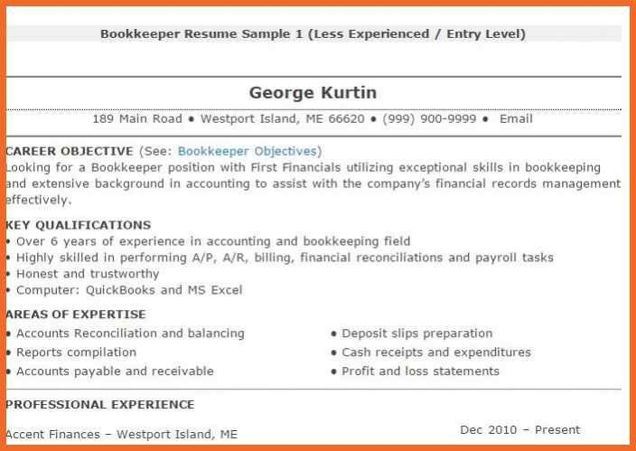 Bookkeeper Resume | Sop Example