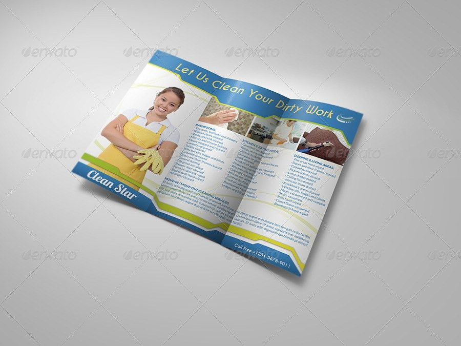 Cleaning Services Tri-Fold Brochure by OWPictures | GraphicRiver