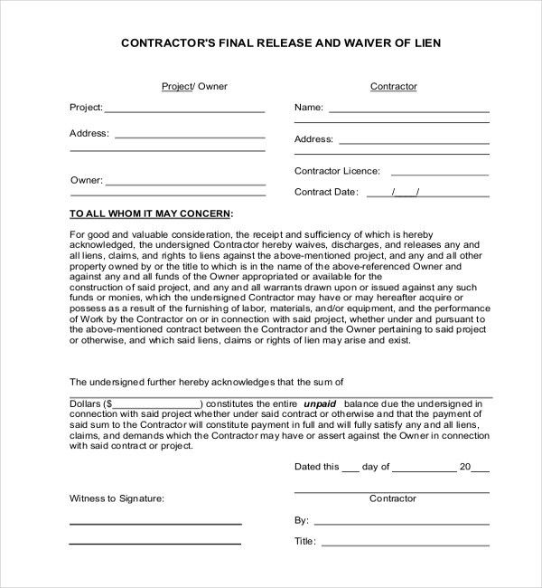 11+ Sample Lien Release Forms | Sample Forms