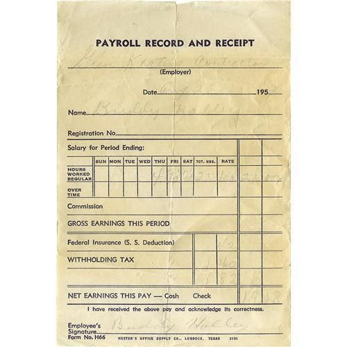 Buddy Holly Signed Payroll Receipt. Dated Augus Buddy Holly Signed ...