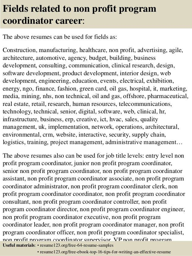 Top 8 non profit program coordinator resume samples