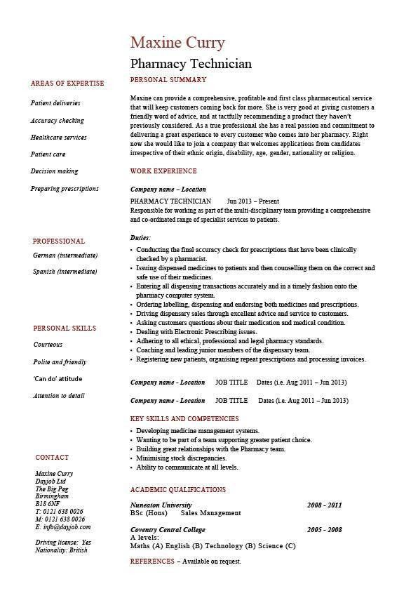 Pharmacy Technician resume, medicine, sample, example, health ...