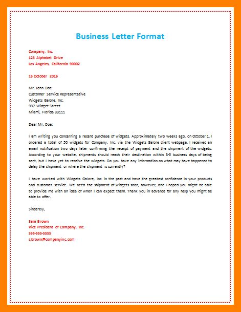 10+ formal business letter example | packaging clerks