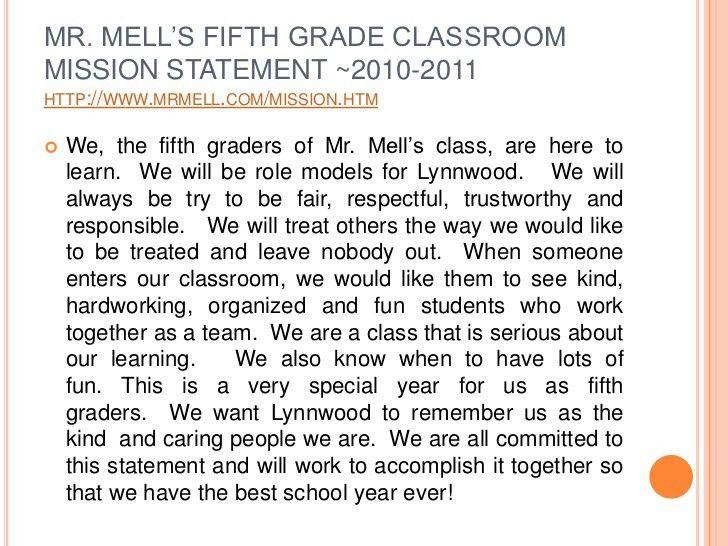 Sample classroom mission statement
