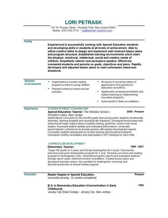 Teacher Resume Template | berathen.Com