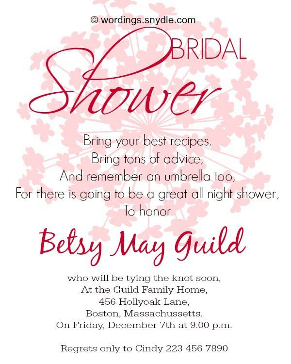 Bridal Shower Invitation Wordings - Wordings and Messages