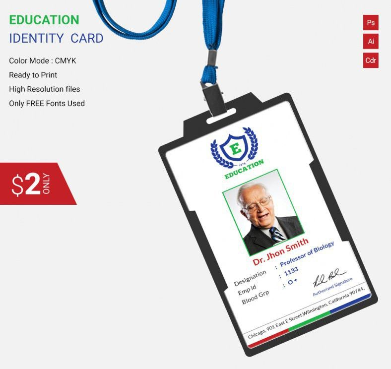 Flat Education Identity Card Template | Free & Premium Templates