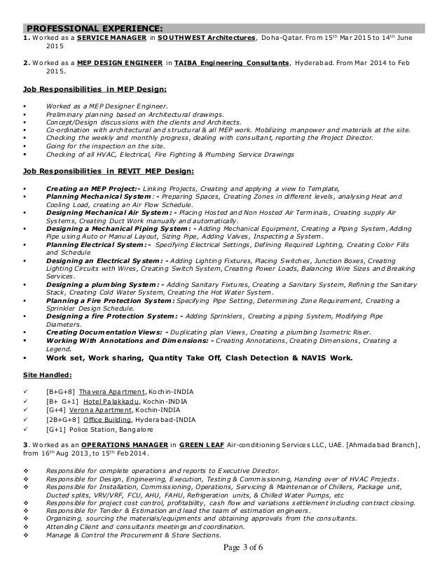 CV-HVAC MEP ENGINEER