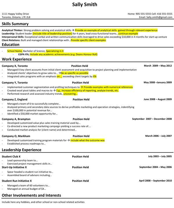 Student Resume Example. Visit The Consulting Career Guide To Learn ...