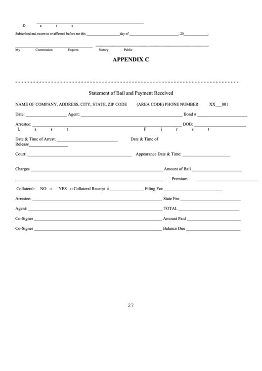 Appendix C - Statement Of Bail And Payment Received Form printable ...
