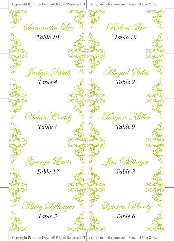 The 25+ best Place card template ideas on Pinterest   Diy wedding ...