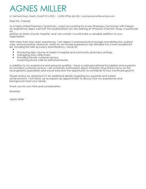 Pharmacy Technician Cover Letter Sample | Resume Template Info