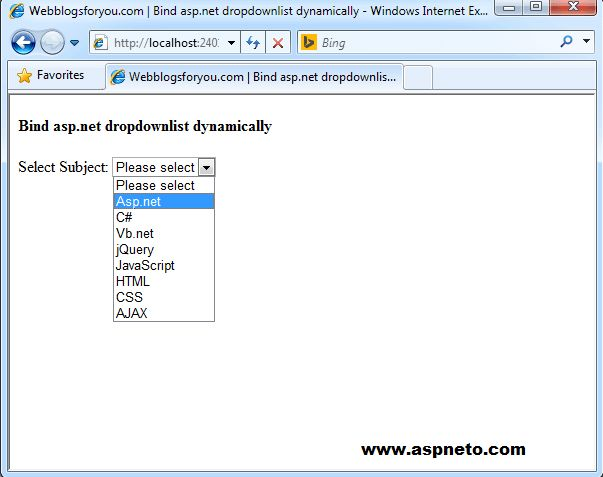 Bind Asp.net DropDownList Dynamically In C# Vb.net