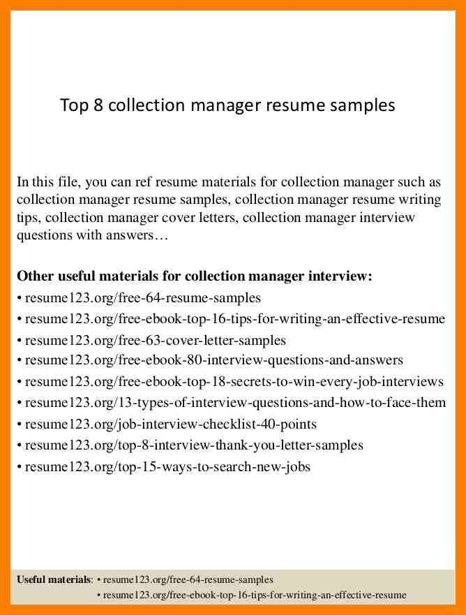 collections resume sample resume example collections resume