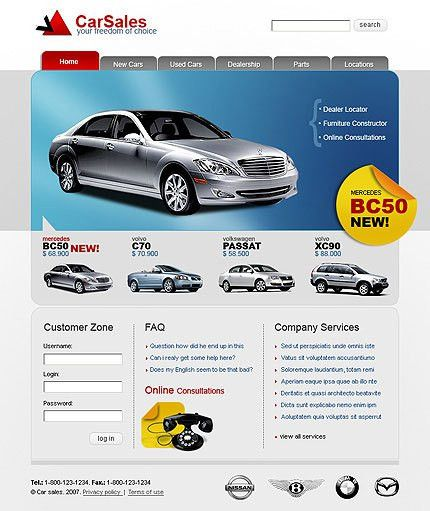 Car Sales Website Templates, Car HTML Templates, Car Animated Web ...