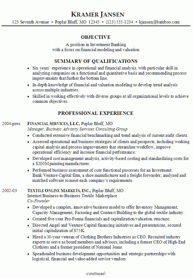 investment banking intern resume samples. investment banker resume ...
