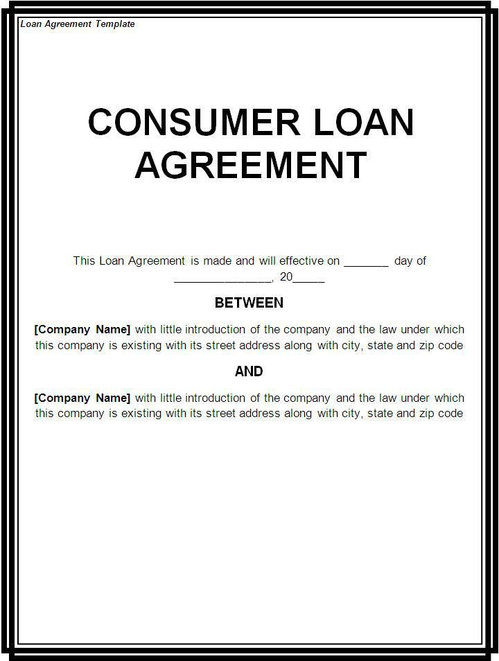 Free Printable Loan Template Form (GENERIC)