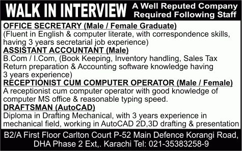 Latest Jobs in Karachi 2014 May for Secretary, Assistant ...