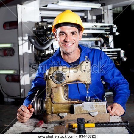 Modern Industrial Machine Operator Working On Stock Photo 93445342 ...