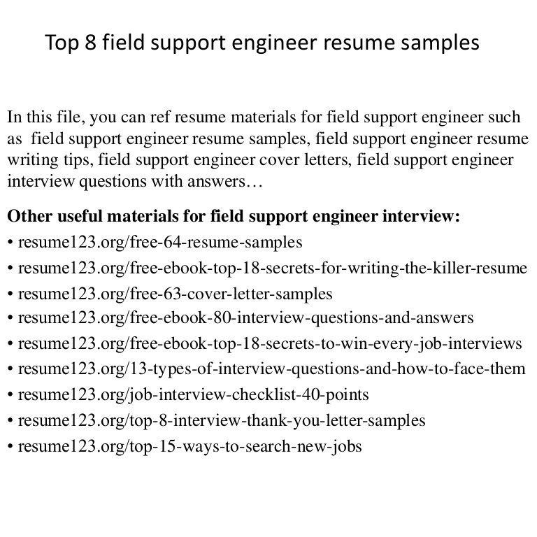 Interesting Field Support Engineer Sample Resume Creative - Resume ...