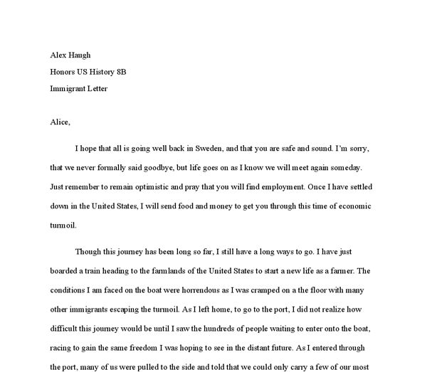 Immigration to the USA - write a letter home from a new immigrant ...