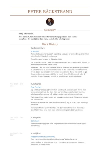 Customer Care Resume samples - VisualCV resume samples database