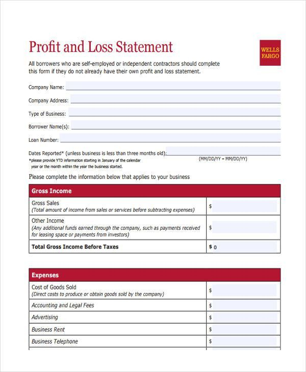 Personal Profit And Loss Statement Form | Jobs.billybullock.us