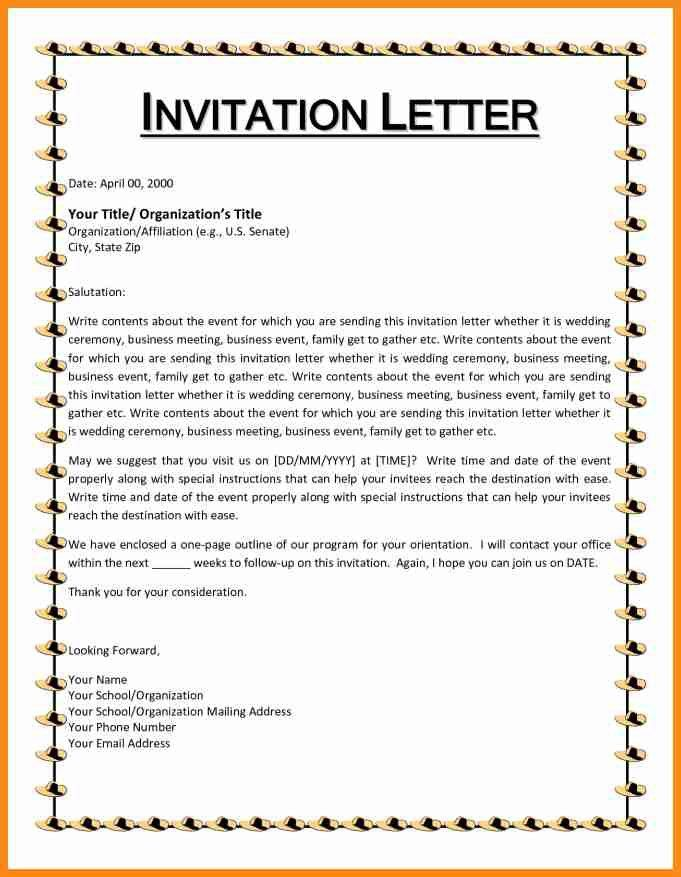 9+ format of invitation letter | musicre sumed