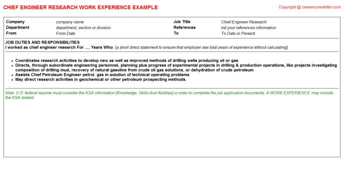 Hotel Chief Engineer CV Work Experience Samples