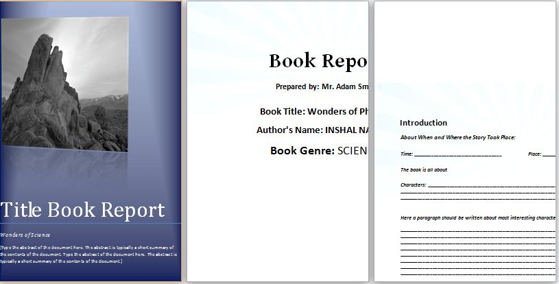 MS Word Elementary Book Report Template | Word & Excel Templates