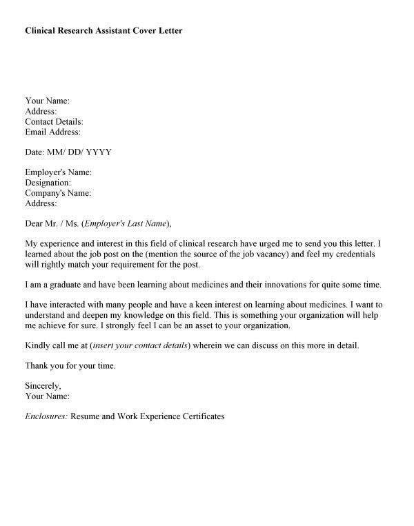 Clinical Research Assistant Cover Letter | The Letter Sample