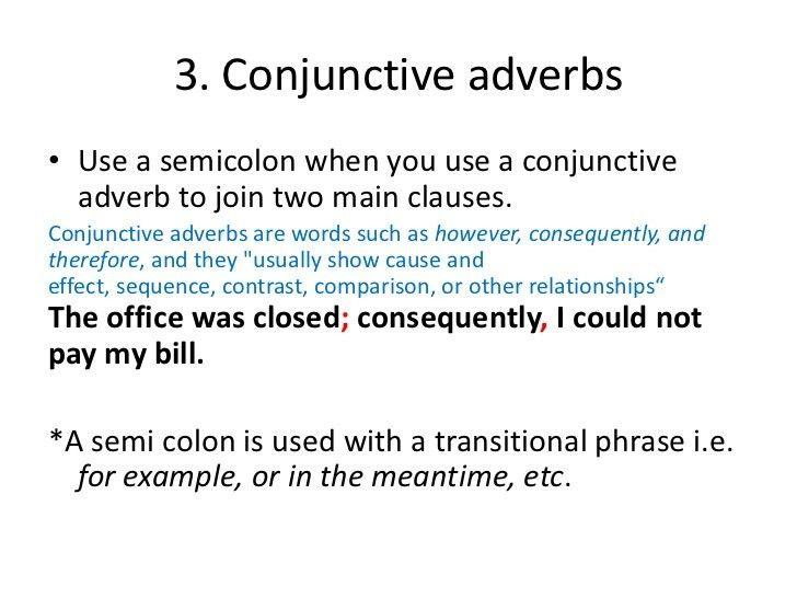 Semicolon quick review