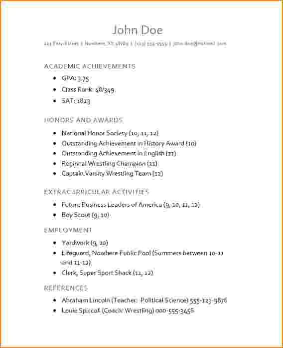 7+ high school resume for college application | bibliography format