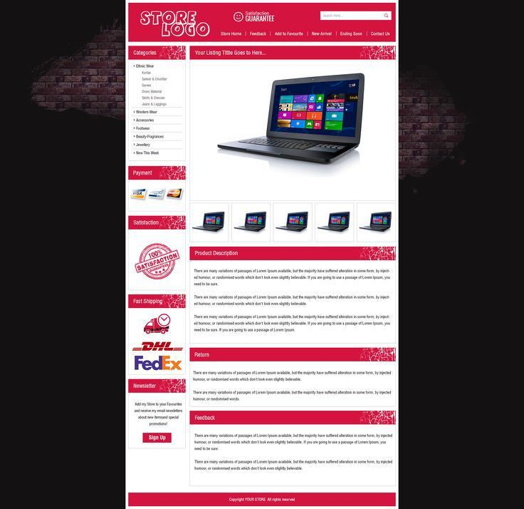 Attractive eBay Auction Listing Template HTML with Dynamic ...