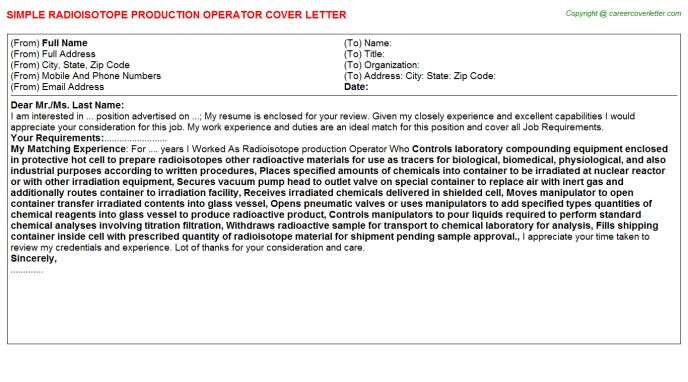 Pharmaceutical Production Operator Cover Letters