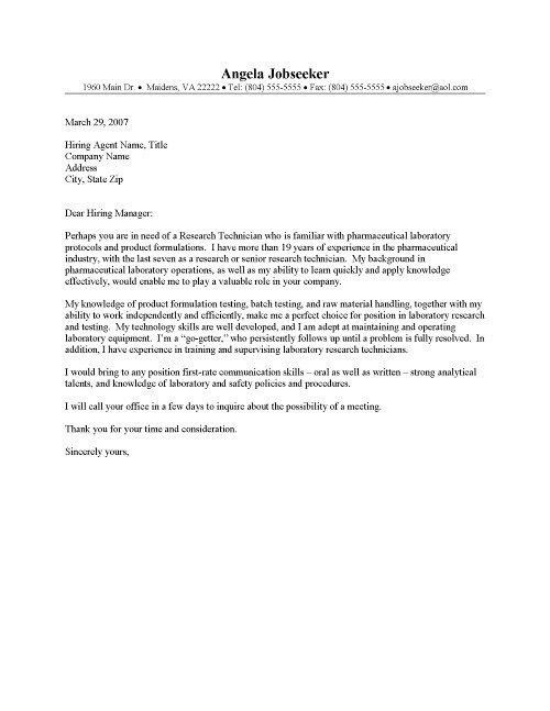 Pharmacy Technician Cover Letter | articleezinedirectory