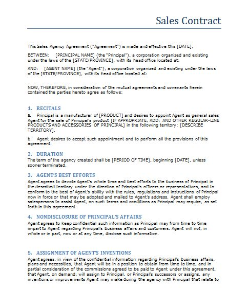 Free Printable Sale Contract Form (GENERIC)