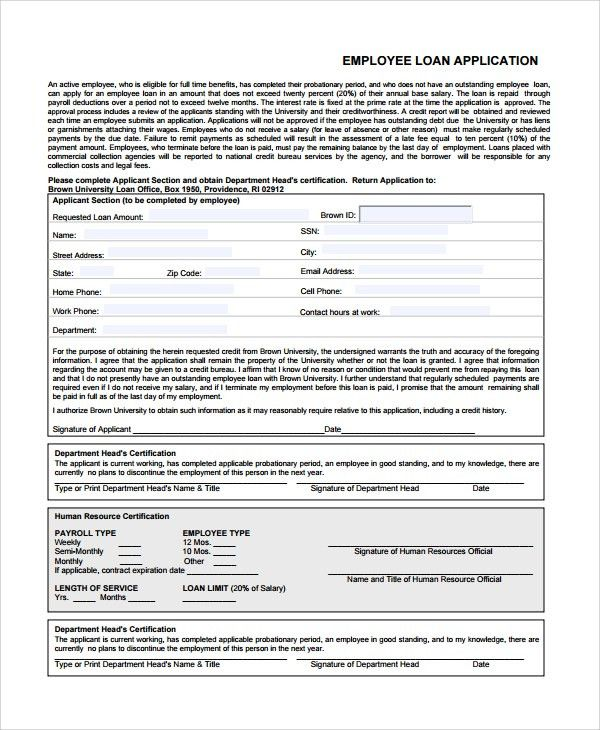 Sample Employee Application Form - 7+ Documents in Word, PDF