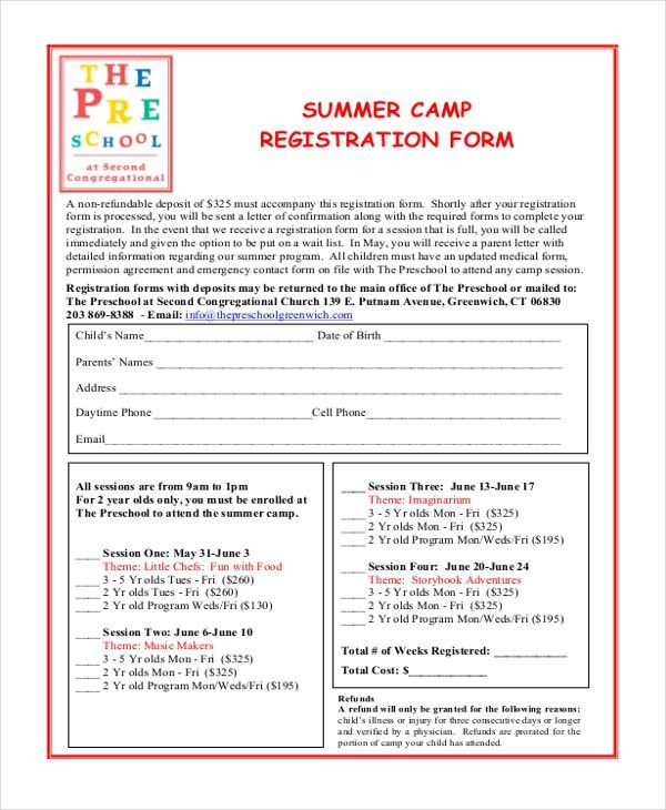 Sample Summer Camp Registration Form - 10+ Free Documents in PDF