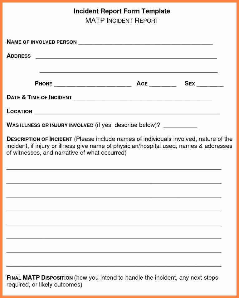 Incident Report Example. Employee Incident Report Form 56+ ...