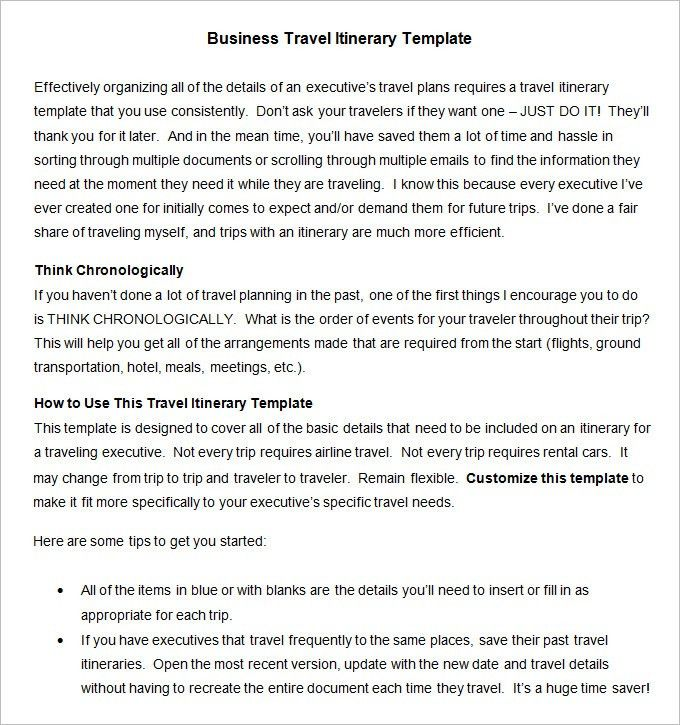 Business Travel Itinerary Template - 8 Free Word, Excel, PDF ...