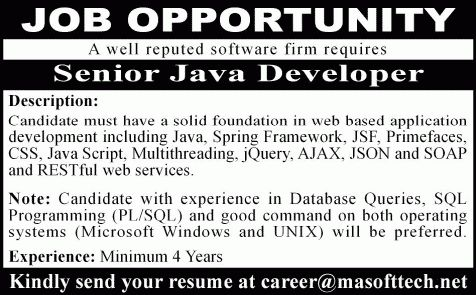 Java Developer Jobs in Karachi 2015 August MA SoftTech Pvt. Ltd ...