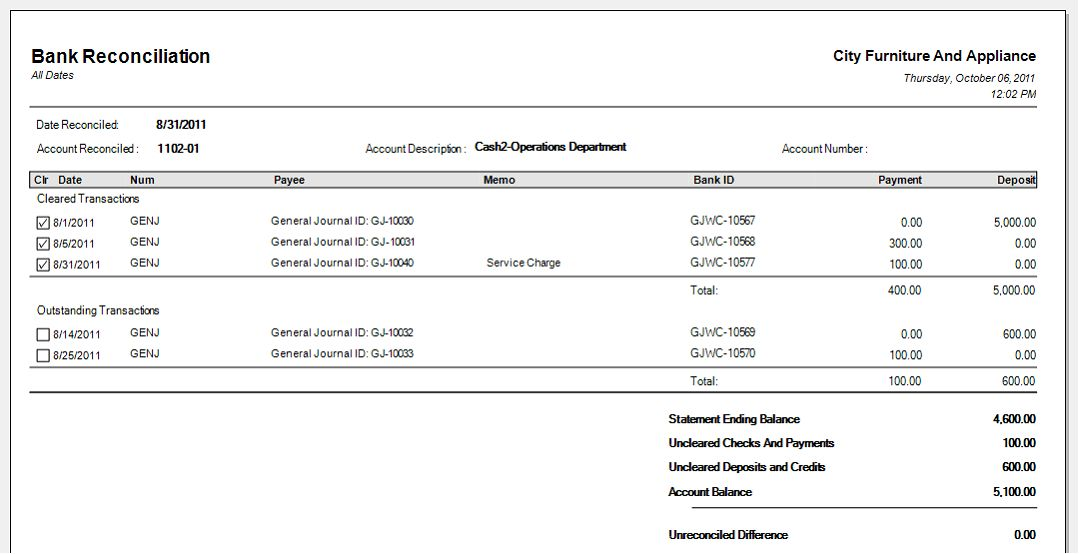 Bank Reconciliation Template | cyberuse