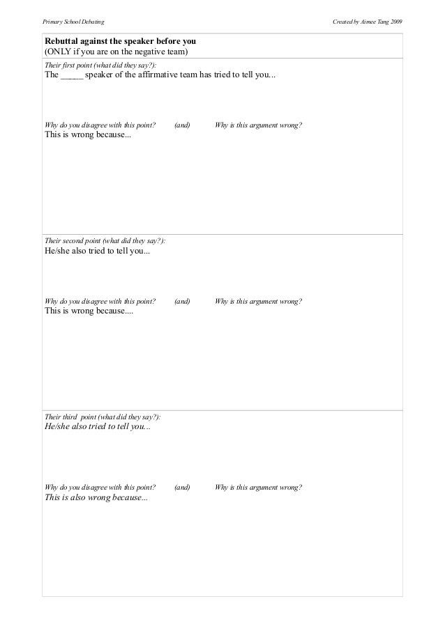 Debate preparation templates